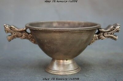 """6"""" Old Chinese dynasty Silver Fengshui 2 Dragon Head Statue Bowl Cup Wine vessel"""