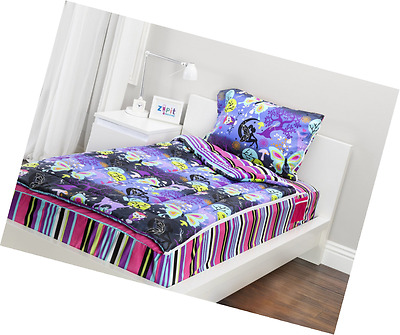 Zipit Bedding Set, Fantasy Forest - Purple Fairy Print or Pink Stripes - Twin