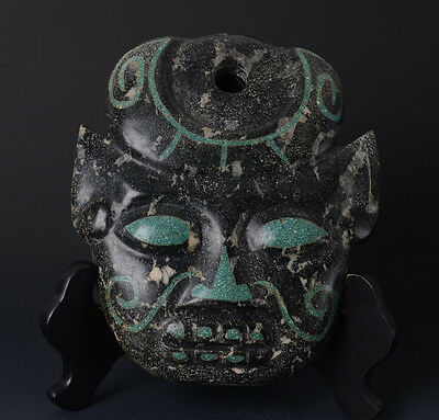 Chinese QiJia Style Turquoise Inlaid Sacrificial Ceremony Big Jade Mask-JR11013