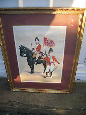 Framed Period Military Picture of the Horse Grenadier Guards circa 1788