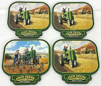 Set of 4 John Deere Officially Licensed Coasters Model A & B Tractors Design NOS