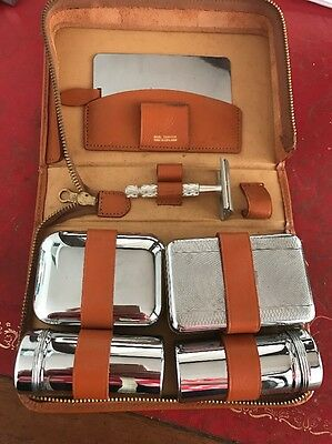 Vintage Original  Men's Gent's Travel Vanity Set Cowhide Leather - Shaving Set