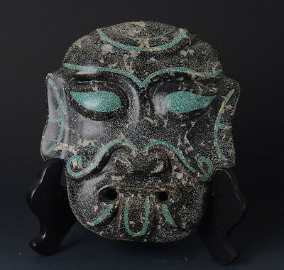 Chinese QiJia Style Turquoise Inlaid Sacrificial Ceremony Big Jade Mask-JR11011