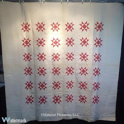 Antique Quilt c1860s 8 Pointed Star Quilt in Red & White
