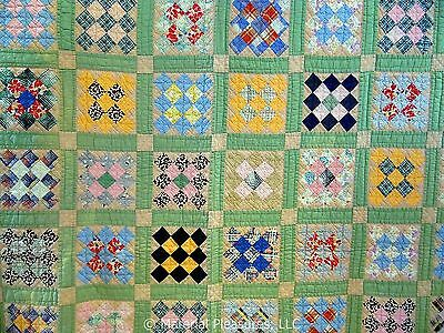Vintage c1940s Postage Stamp Quilt with Red Backing from Kentucky