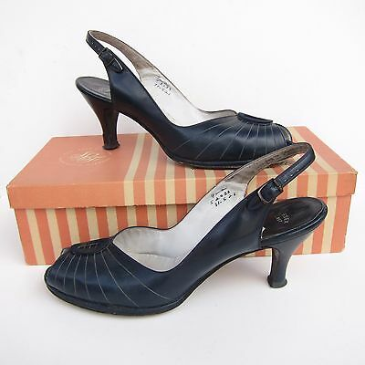 Vintage Peep Toe Shoes 50s 9 AA Blue Leather Stix Baer Fuller Box Heels Pumps