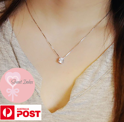 Sterling Silver Gold Zircon Simulated Diamond Crystal Pendant Necklace Fashion