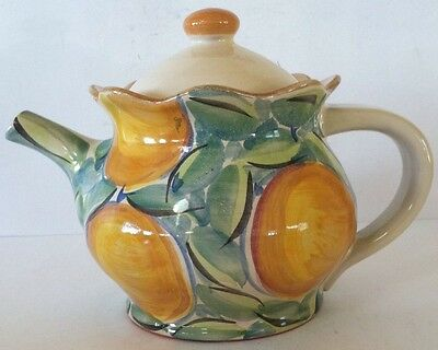 TEAPOT.Tan w/Yellow and Green Lemon Design.Made in Portugal.Excellent Condition.