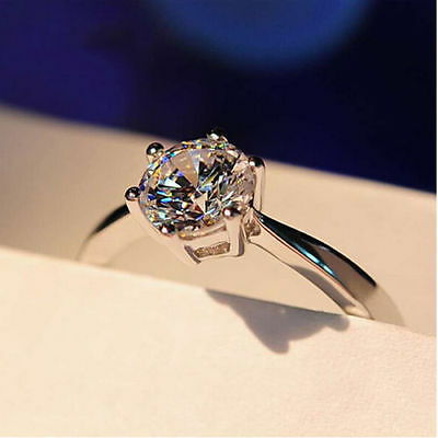 Size 7 White Gold Filled 10K Engagement Ring Claw Sapphire Wedding Gift  gf9