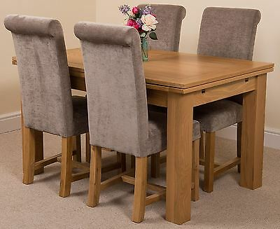 Richmond medium Extending Solid Oak Dining Set Table & 4 Grey Fabric Chairs