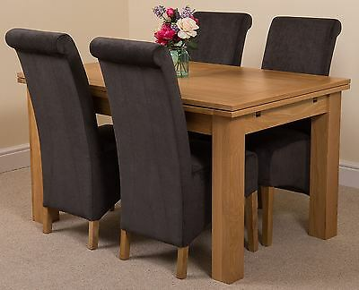Richmond medium Extending Solid Oak Dining Set Table + 4 Black Fabric Chairs