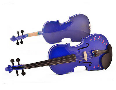 Blue 4/4 High-End Handmade Beginners Preferred Work Musical Instrument Violin #