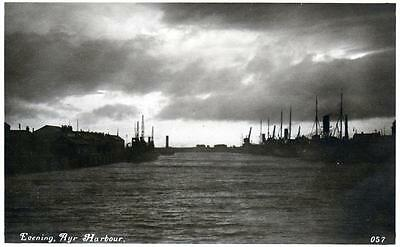 Ayr Harbour Evening unused sepia RP old postcard Davidson Good condition