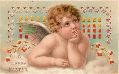 Hold to Light HTL Children Cherub Angel Easter Greetings old postcard used 1910