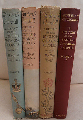 A HISTORY OF THE ENGLISH SPEAKING PEOPLES CHURCHILL 4 VOL SET HARDBACK 1st eds