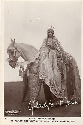 Miss Gladys Mann Lady Godiva Peace Pageant 1919 Coventry unused RP pc