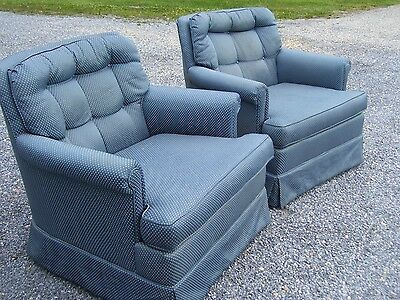 Vintage Mid Century Simmons Club Lounge Chairs - Pair- In Blue