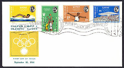Olympics Olympic Games Sport stamps on 1964 FDC FDI First Day Cover Ethiopia