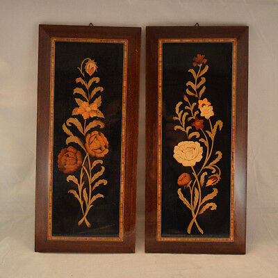 Pair of Vintage Sorrento Italy Wood Marquetry / Inlaid ~ Wall Hangings Plaques