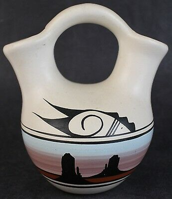 VTG Artist Signed Colorado Pueblo Pottery Native American Double Wedding Vase