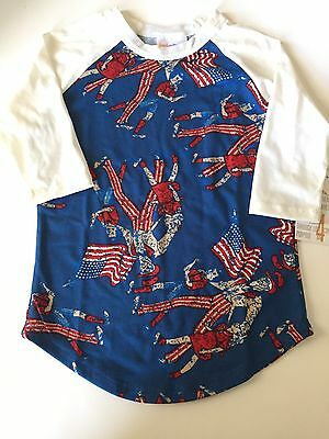 LuLaRoe Sloan Size 4 Fourth of July Uncle Sam Flags Red White Blue