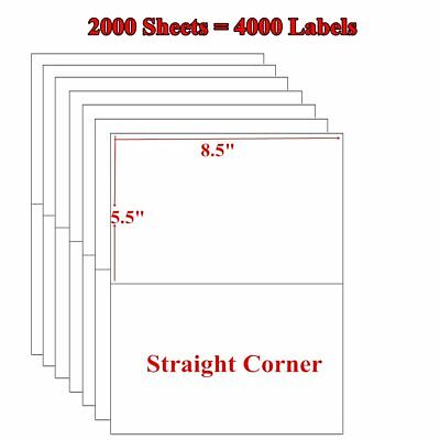 4000 Premium Half Sheet 8.5x5.5 Self Adhesive Shipping Blank Labels 2 Per Sheet