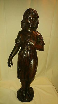 Antique Walnut Wood Beautiful Patina Statue