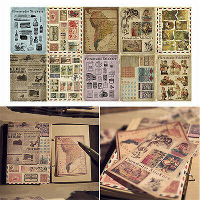 10 Sheets/Set Vintage Paper Stickers DIY Scrapbooking Album Diary Craft Decor