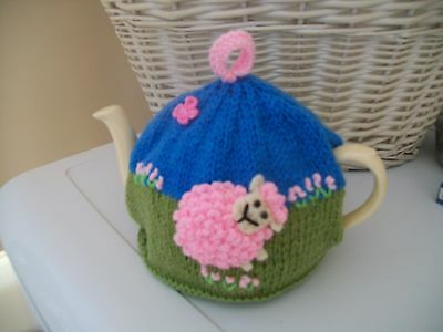 Hand Knitted Sheep  Tea Cosy For A Medium Teapot 3-4 Cup Size