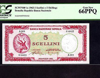 Somalia, 5 Shillings 1962, P-1, PCGS Gem Unc 66 PPQ * First Issue First Note *