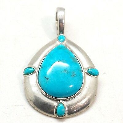 Carolyn Pollack Relios Turquoise Pendant Enhance Sterling Silver 925 14g  JSV115