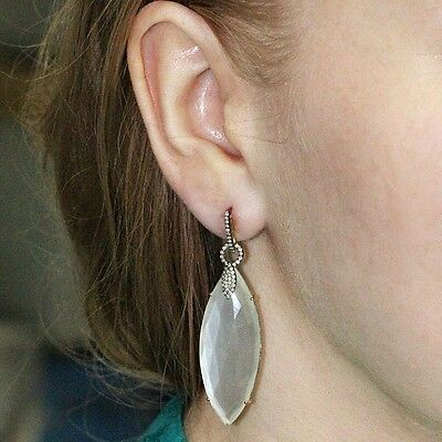 925 Silver Marquise Moonstone Women's Gift Dangle Earrings 14k Gold Diamond Pave