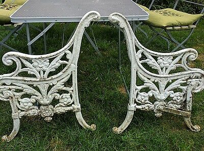 Pair of Antique Victorian Cast Iron Decorative Garden Bench Ends