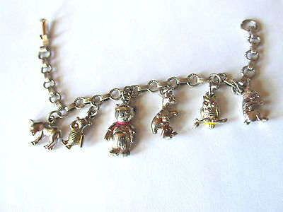 """8"""" Disney Winnie the Pooh and Friends Charm Bracelet Productions 64 Silver Tone"""