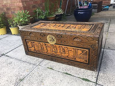 Camphor wood Chinese Hand Carved Wood Chest Trunk