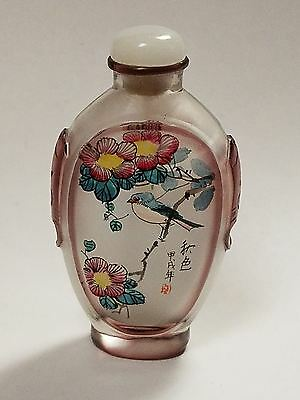Nice Quality Chinese Inside Painted Glass Snuff Bottle With Writing