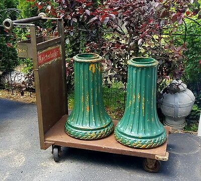 1930's Pair Salvaged Ocean Waves American Cast Iron Fluted Lamp Post Base