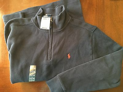 Nwt Polo Ralph Lauren Classics Navy 1/4  Zip Sweater Boys Large 14-16 $65