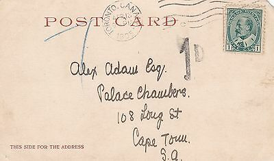 Canada 1905 PC Toronto to Cape Town South Africa 1d Postage Due Short Paid