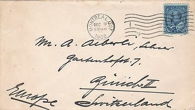 Canada 1908 Cover Montreal to Zurich Switzerland 5c Rate