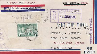 Canada 1950 Registered Airmail FDC Oilwells to Gold Coast Africa