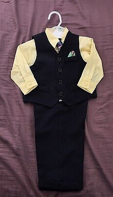 Nautica Baby Boy 4 Piece Suit Set Pinstripe + Yellow Wedding Party 18 Months NWT