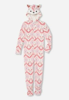NEW NWT JUSTICE Girls Fox Hooded Fleece Pajamas size 10 One Piece winter PJs