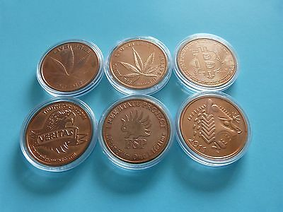 6 x 1oz Copper Bullion Rounds all different in capsules