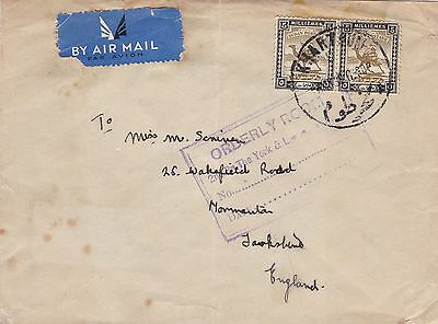 Khartoum 1930 Military Airmail Cover to Normanton Yorkshire UK 10m Rate