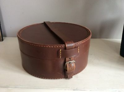VINTAGE 1940s MANS BROWN LEATHER COLLAR BOX /JEWELLERY BOX