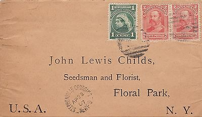 Newfoundland 1907 Cover Stephenville Crossing to Floral Park NY USA