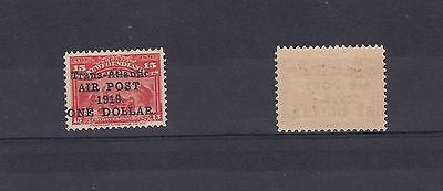 Newfoundland 1919 Air Stamp $1 on 15c No Comma After Air Post Lightly Hinged