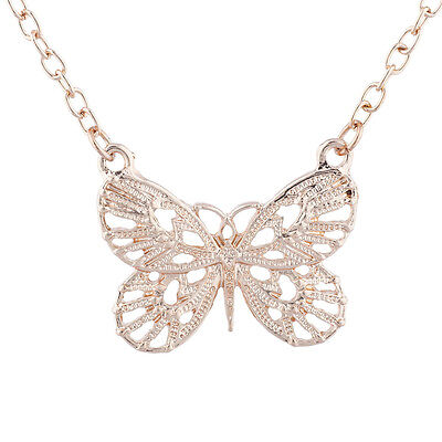 Lux Accessories Rose Gold Tone Boho Butterfly Charm Pendant Necklace