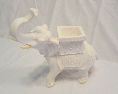 Vintage White Bisque Made in Italy Elephant Figurine